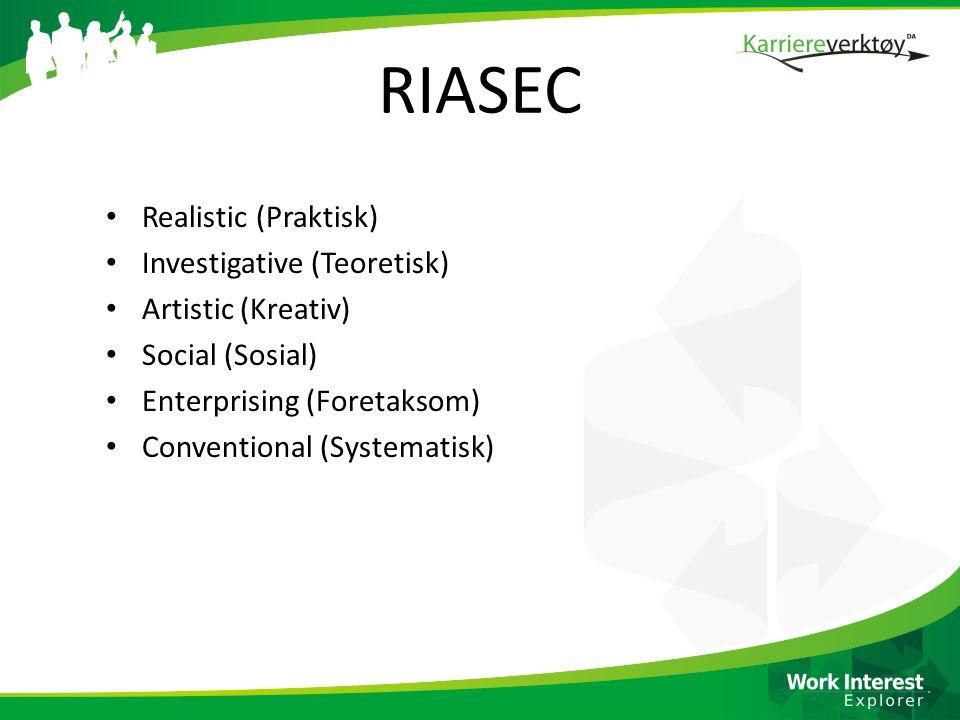 RIASEC • Realistic (Praktisk) • Investigative (Teoretisk) • Artistic (Kreativ) • Social (Sosial) • Enterprising (Foretaksom) • Conventional (Systematisk)