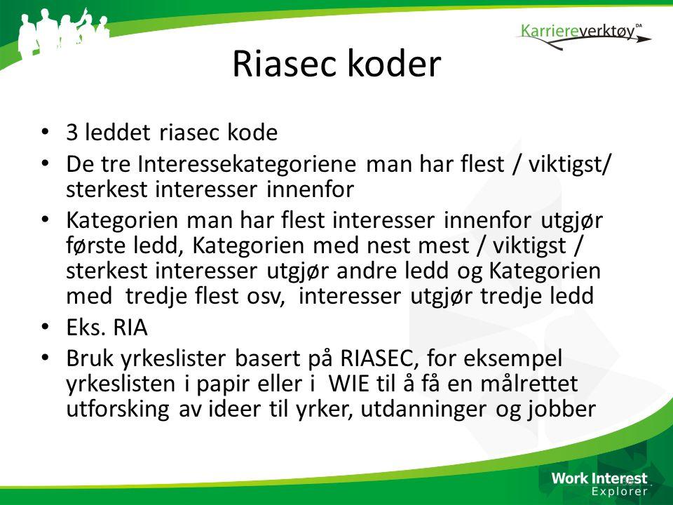 Riasec koder • 3 leddet riasec kode • De tre Interessekategoriene man har flest / viktigst/ sterkest interesser innenfor • Kategorien man har flest in