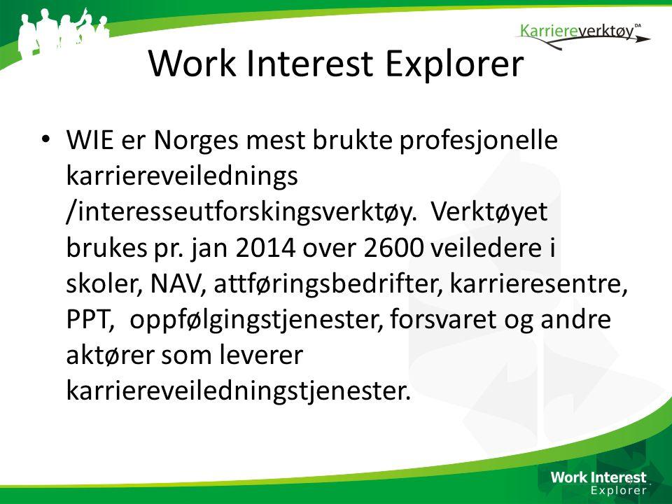 Work Interest Explorer • WIE er Norges mest brukte profesjonelle karriereveilednings /interesseutforskingsverktøy. Verktøyet brukes pr. jan 2014 over