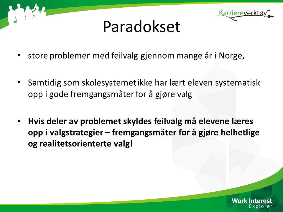 Paradokset • store problemer med feilvalg gjennom mange år i Norge, • Samtidig som skolesystemet ikke har lært eleven systematisk opp i gode fremgangs