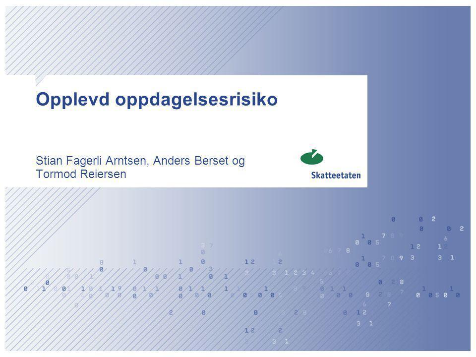 Opplevd oppdagelsesrisiko Stian Fagerli Arntsen, Anders Berset og Tormod Reiersen