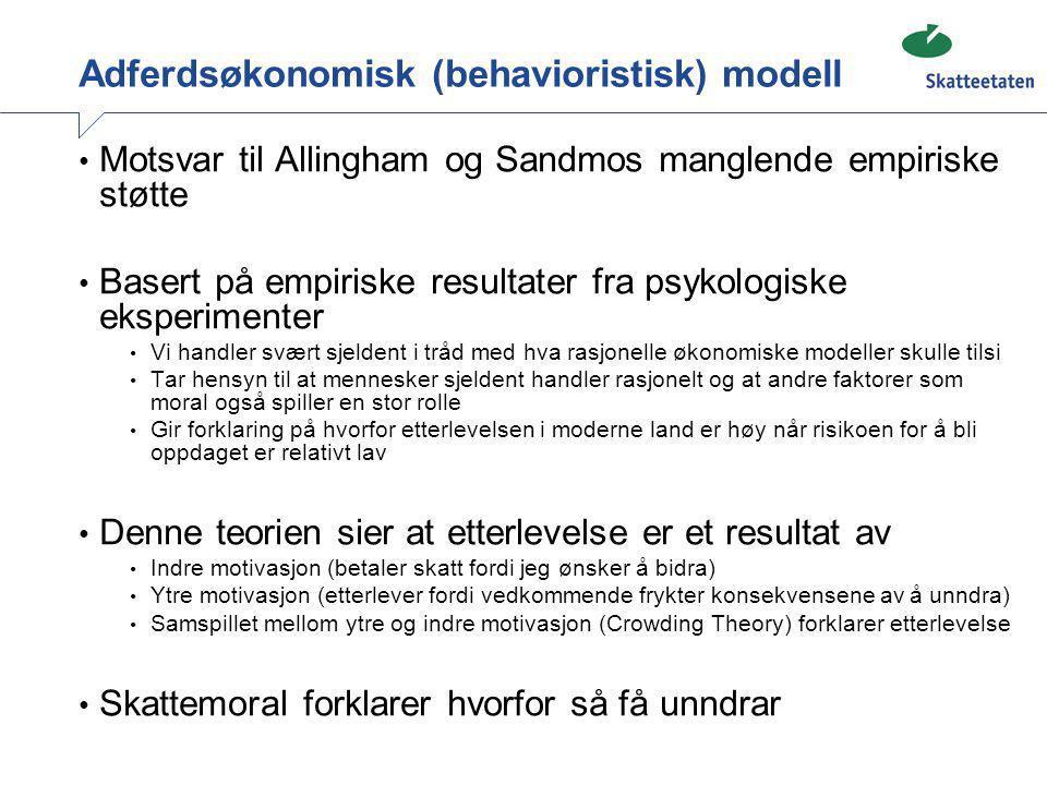 Adferdsøkonomisk (behavioristisk) modell • Motsvar til Allingham og Sandmos manglende empiriske støtte • Basert på empiriske resultater fra psykologis