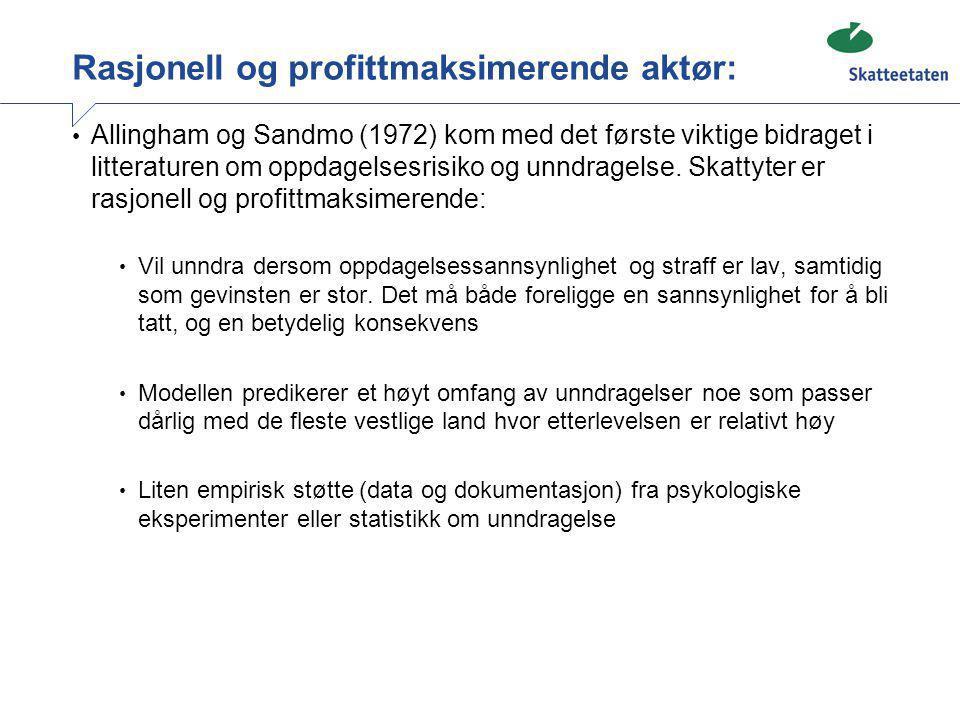 Rasjonell og profittmaksimerende aktør: • Allingham og Sandmo (1972) kom med det første viktige bidraget i litteraturen om oppdagelsesrisiko og unndra
