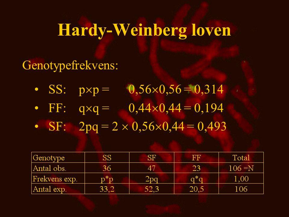  2 -test •H 0 : Der er ikke forskel på observerede og forventede værdier •  2 -værdi =  (O-E) 2 /E = 1,09 •Signifikansniveau:  = 0,05 •Frihedsgrader: df = 1