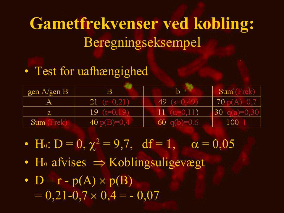 Gametfrekvenser ved kobling •Gameterne Ab og aB er i repulsionsfase •Obs. - Exp. = Afvigelse = D