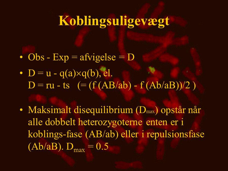 Nedbrydning af koblingsuligevægt •D n = D 0 (1-c) n, hvor D 0 er uligevægten i udgangs populationen