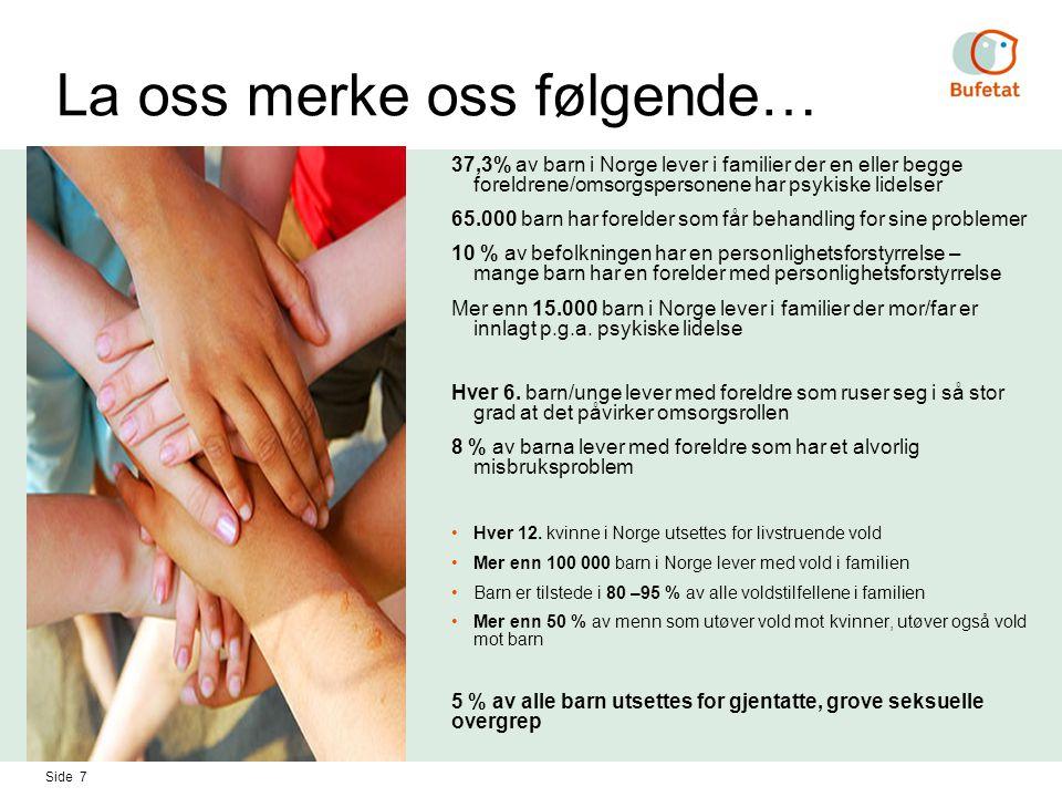 Side 7 La oss merke oss følgende… 37,3% av barn i Norge lever i familier der en eller begge foreldrene/omsorgspersonene har psykiske lidelser 65.000 b