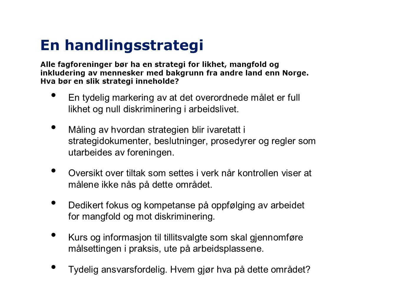 En handlingsstrategi • En tydelig markering av at det overordnede målet er full likhet og null diskriminering i arbeidslivet. • Måling av hvordan stra