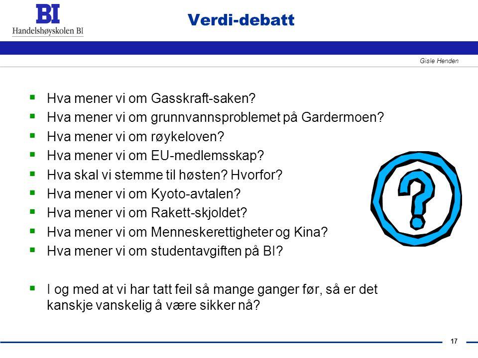 17 Gisle Henden Verdi-debatt  Hva mener vi om Gasskraft-saken?  Hva mener vi om grunnvannsproblemet på Gardermoen?  Hva mener vi om røykeloven?  H