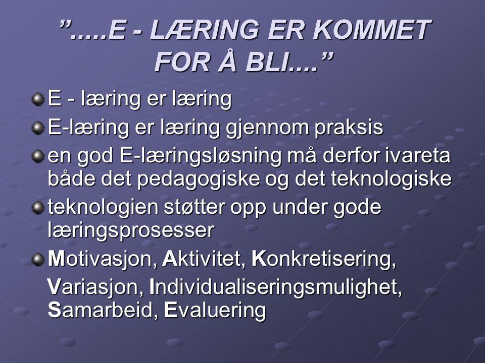 """"""".....E - LÆRING ER KOMMET FOR Å BLI...."""" E - læring er læring E-læring er læring gjennom praksis en god E-læringsløsning må derfor ivareta både det p"""