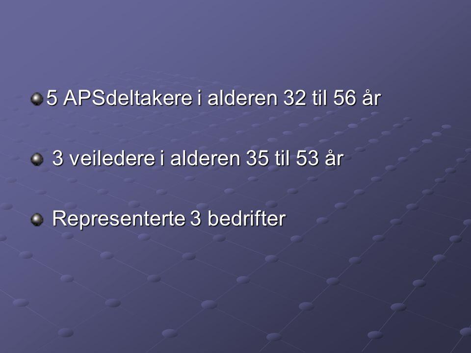 5 APSdeltakere i alderen 32 til 56 år 3 veiledere i alderen 35 til 53 år 3 veiledere i alderen 35 til 53 år Representerte 3 bedrifter Representerte 3