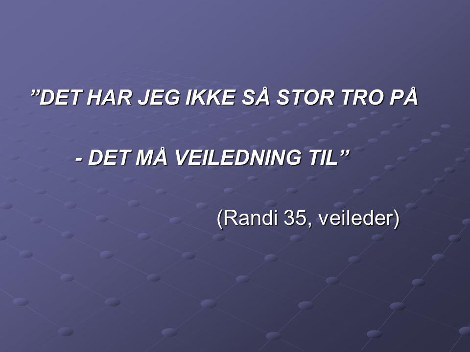 """""""DET HAR JEG IKKE SÅ STOR TRO PÅ - DET MÅ VEILEDNING TIL"""" - DET MÅ VEILEDNING TIL"""" (Randi 35, veileder)"""