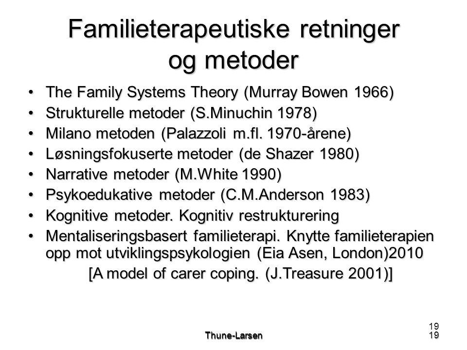 19Thune-Larsen19 Familieterapeutiske retninger og metoder •The Family Systems Theory (Murray Bowen 1966) •Strukturelle metoder (S.Minuchin 1978) •Milano metoden (Palazzoli m.fl.
