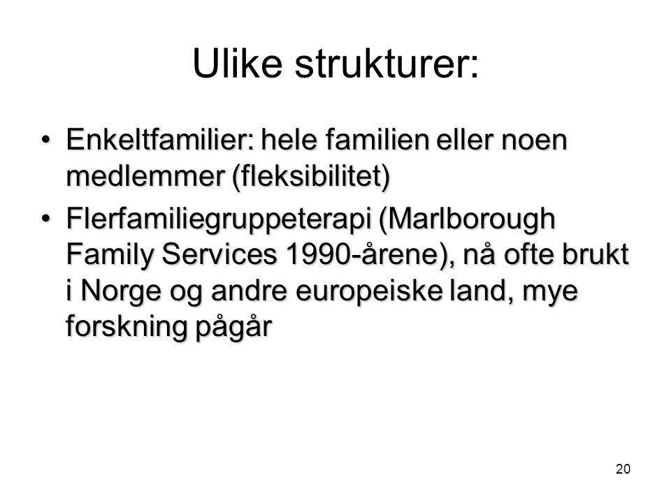 20 Ulike strukturer: •Enkeltfamilier: hele familien eller noen medlemmer (fleksibilitet) •Flerfamiliegruppeterapi (Marlborough Family Services 1990-årene), nå ofte brukt i Norge og andre europeiske land, mye forskning pågår