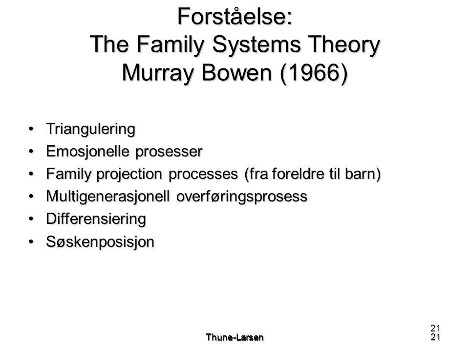 21Thune-Larsen21 Forståelse: The Family Systems Theory Murray Bowen (1966) •Triangulering •Emosjonelle prosesser •Family projection processes (fra foreldre til barn) •Multigenerasjonell overføringsprosess •Differensiering •Søskenposisjon