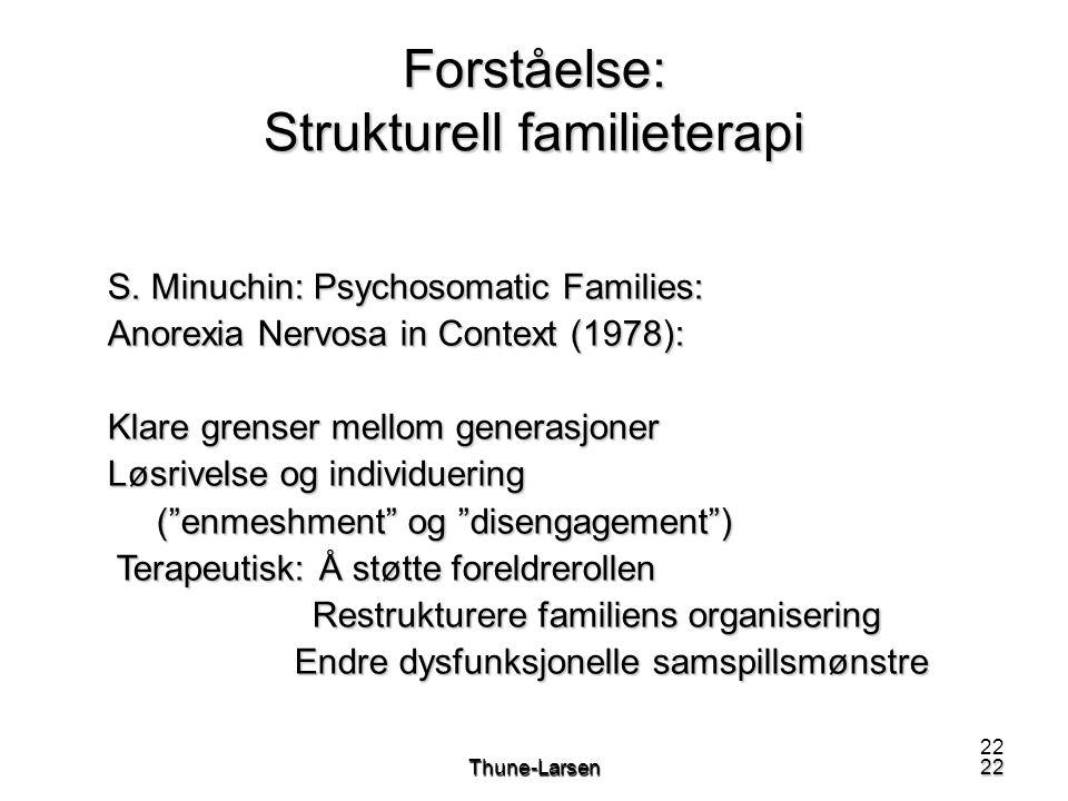 22Thune-Larsen22 Forståelse: Strukturell familieterapi S. Minuchin: Psychosomatic Families: Anorexia Nervosa in Context (1978): Klare grenser mellom g