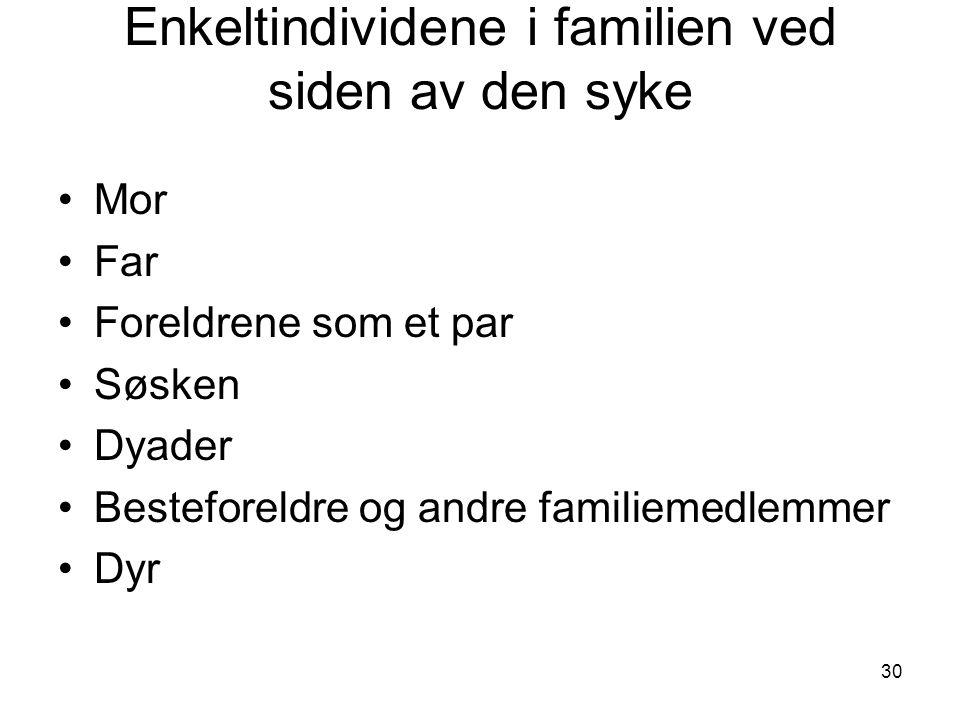 30 Enkeltindividene i familien ved siden av den syke •Mor •Far •Foreldrene som et par •Søsken •Dyader •Besteforeldre og andre familiemedlemmer •Dyr