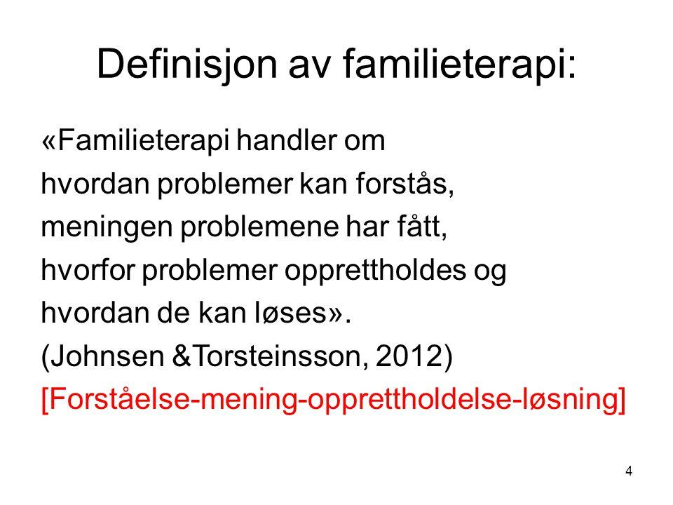 4 Definisjon av familieterapi: «Familieterapi handler om hvordan problemer kan forstås, meningen problemene har fått, hvorfor problemer opprettholdes og hvordan de kan løses».