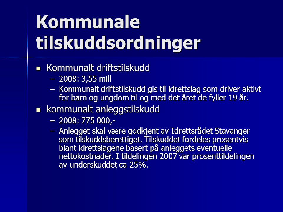 Kommunale tilskuddsordninger  Kommunalt driftstilskudd –2008: 3,55 mill –Kommunalt driftstilskudd gis til idrettslag som driver aktivt for barn og ungdom til og med det året de fyller 19 år.