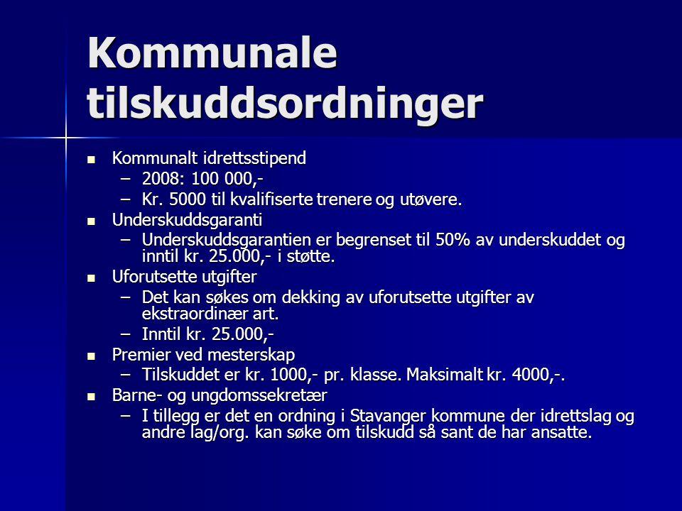 Kommunale tilskuddsordninger  Kommunalt idrettsstipend –2008: 100 000,- –Kr.