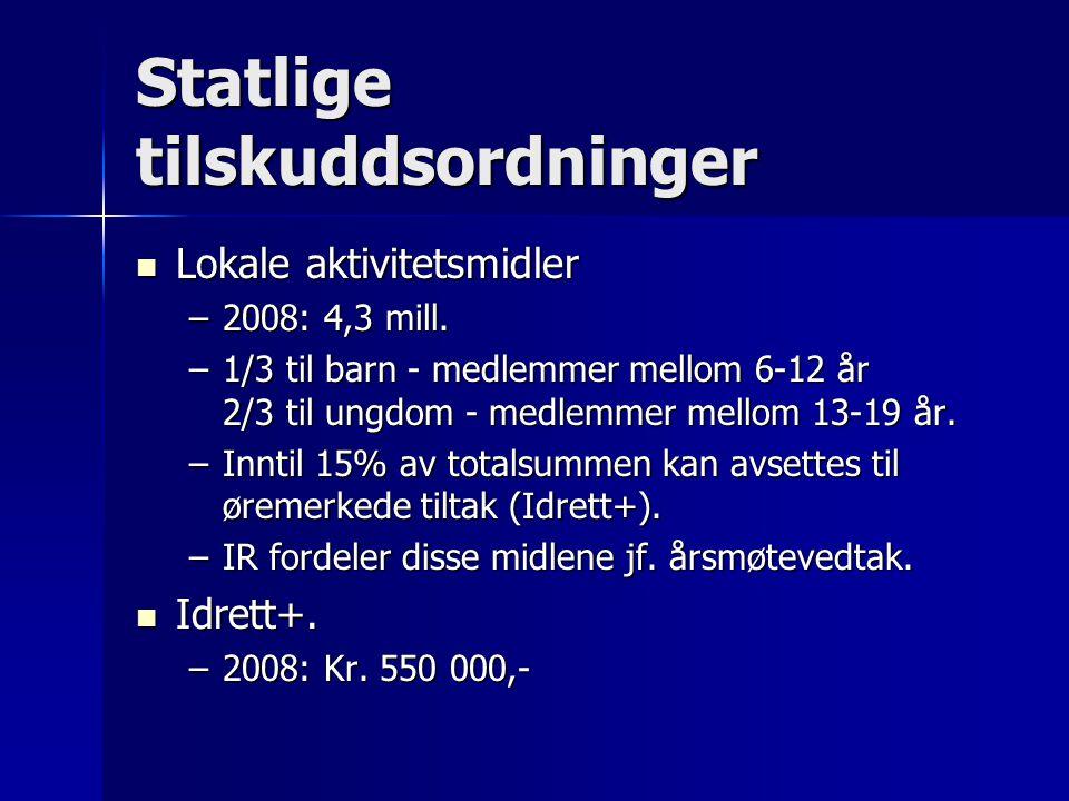 Statlige tilskuddsordninger  Lokale aktivitetsmidler –2008: 4,3 mill.