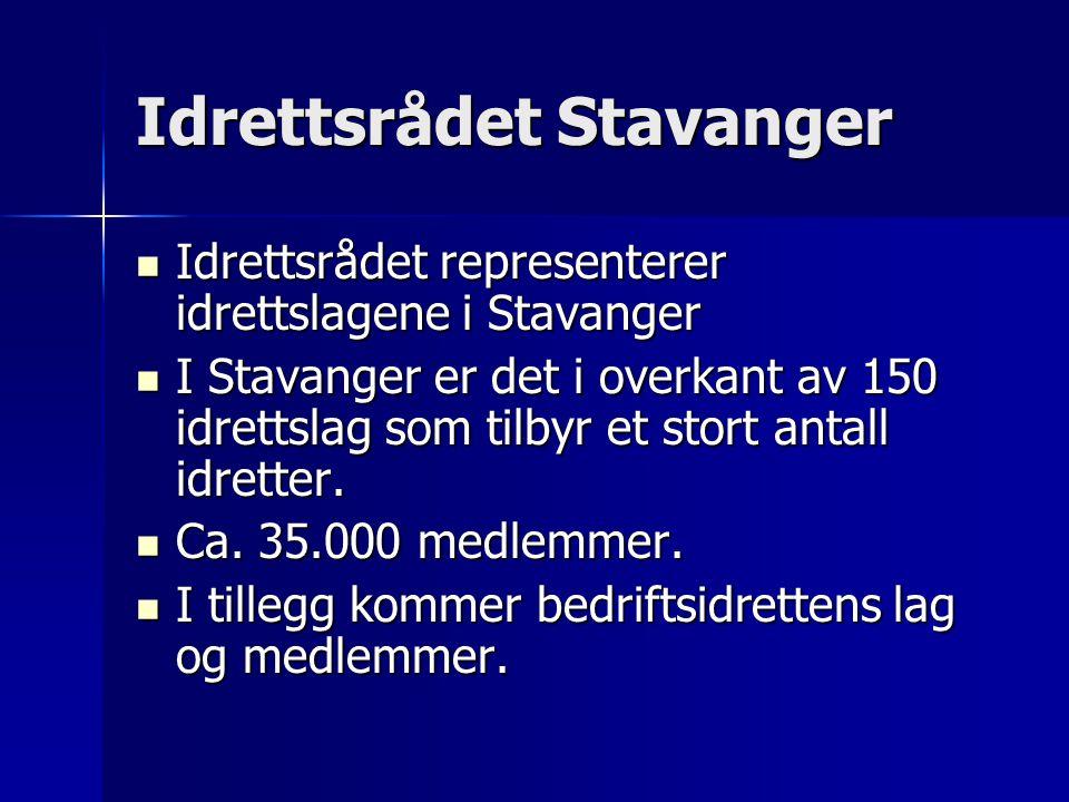 Idrettsrådet Stavanger  Idrettsrådet representerer idrettslagene i Stavanger  I Stavanger er det i overkant av 150 idrettslag som tilbyr et stort antall idretter.