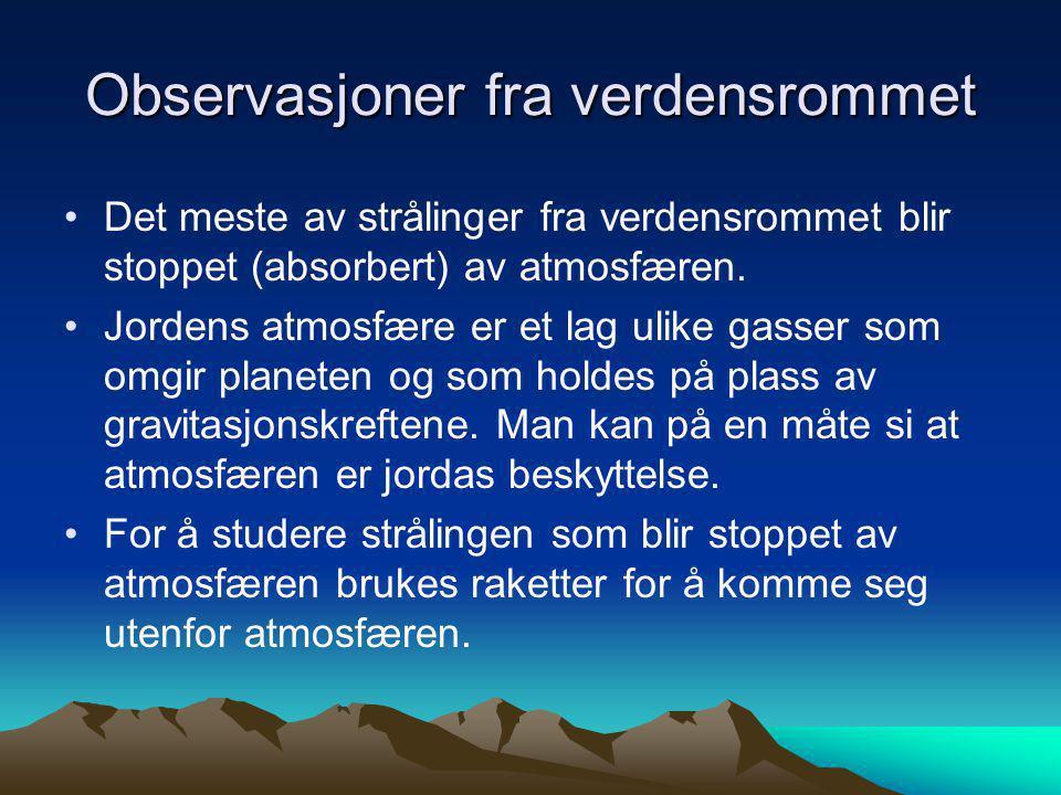 Observasjoner fra verdensrommet •Det meste av strålinger fra verdensrommet blir stoppet (absorbert) av atmosfæren. •Jordens atmosfære er et lag ulike