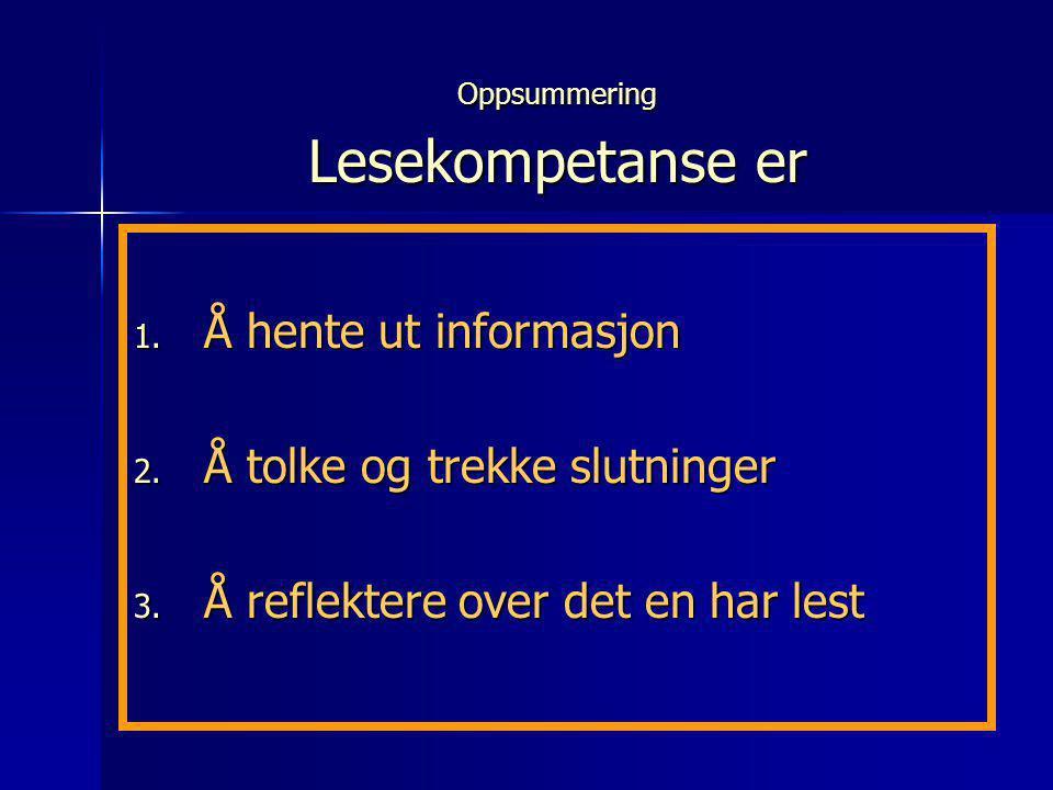 Oppsummering Lesekompetanse er 1. Å hente ut informasjon 2. Å tolke og trekke slutninger 3. Å reflektere over det en har lest
