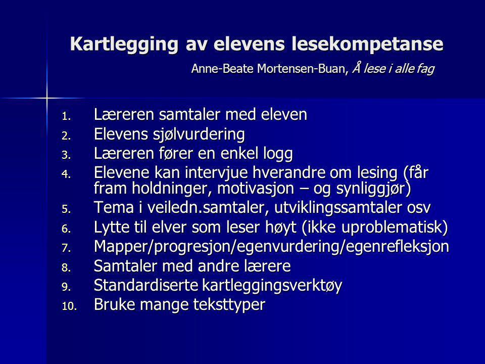 Kartlegging av elevens lesekompetanse Anne-Beate Mortensen-Buan, Å lese i alle fag 1. Læreren samtaler med eleven 2. Elevens sjølvurdering 3. Læreren