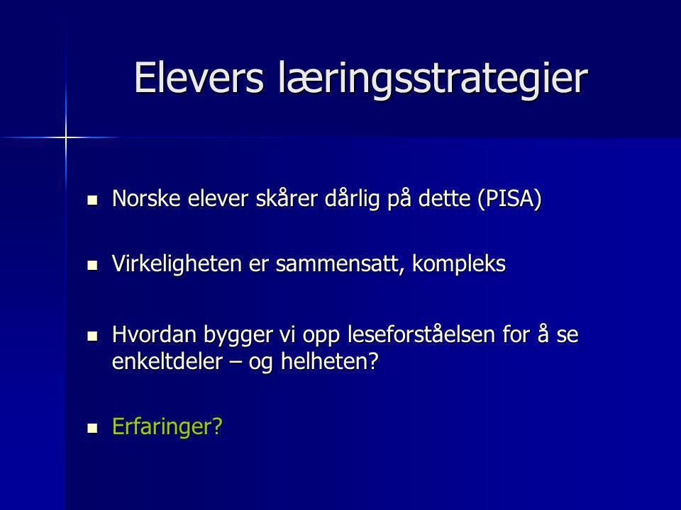 Elevers læringsstrategier  Norske elever skårer dårlig på dette (PISA)  Virkeligheten er sammensatt, kompleks  Hvordan bygger vi opp leseforståelse