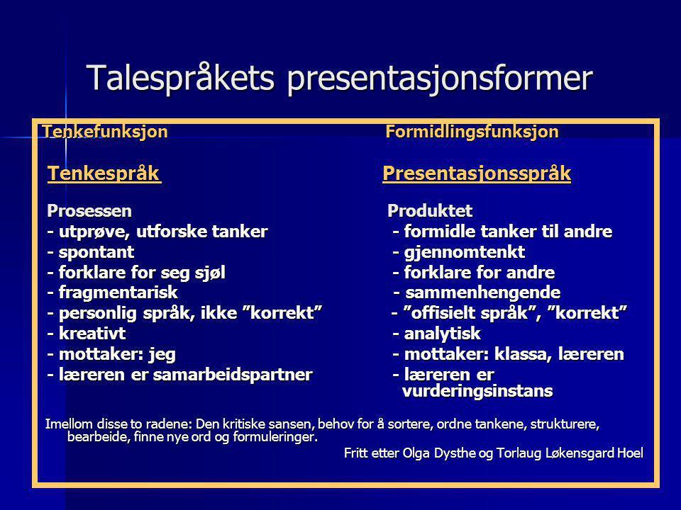 Talespråkets presentasjonsformer Tenkefunksjon Formidlingsfunksjon Tenkespråk Presentasjonsspråk Tenkespråk Presentasjonsspråk Prosessen Produktet Pro