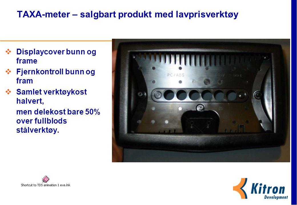TAXA-meter – salgbart produkt med lavprisverktøy  Displaycover bunn og frame  Fjernkontroll bunn og fram  Samlet verktøykost halvert, men delekost