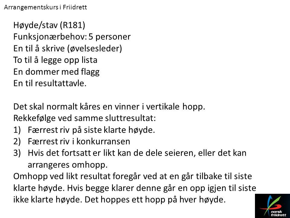 Arrangementskurs i Friidrett Høyde/stav (R181) Funksjonærbehov: 5 personer En til å skrive (øvelsesleder) To til å legge opp lista En dommer med flagg