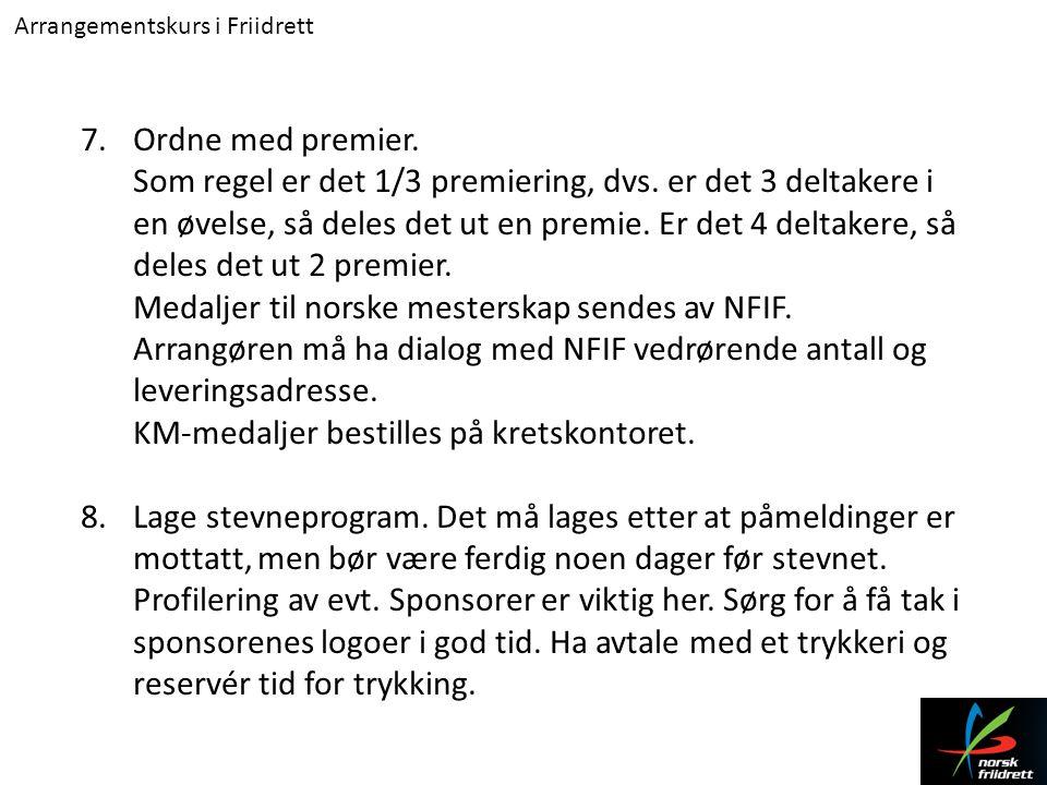 Arrangementskurs i Friidrett 9.Bestille startnumre.