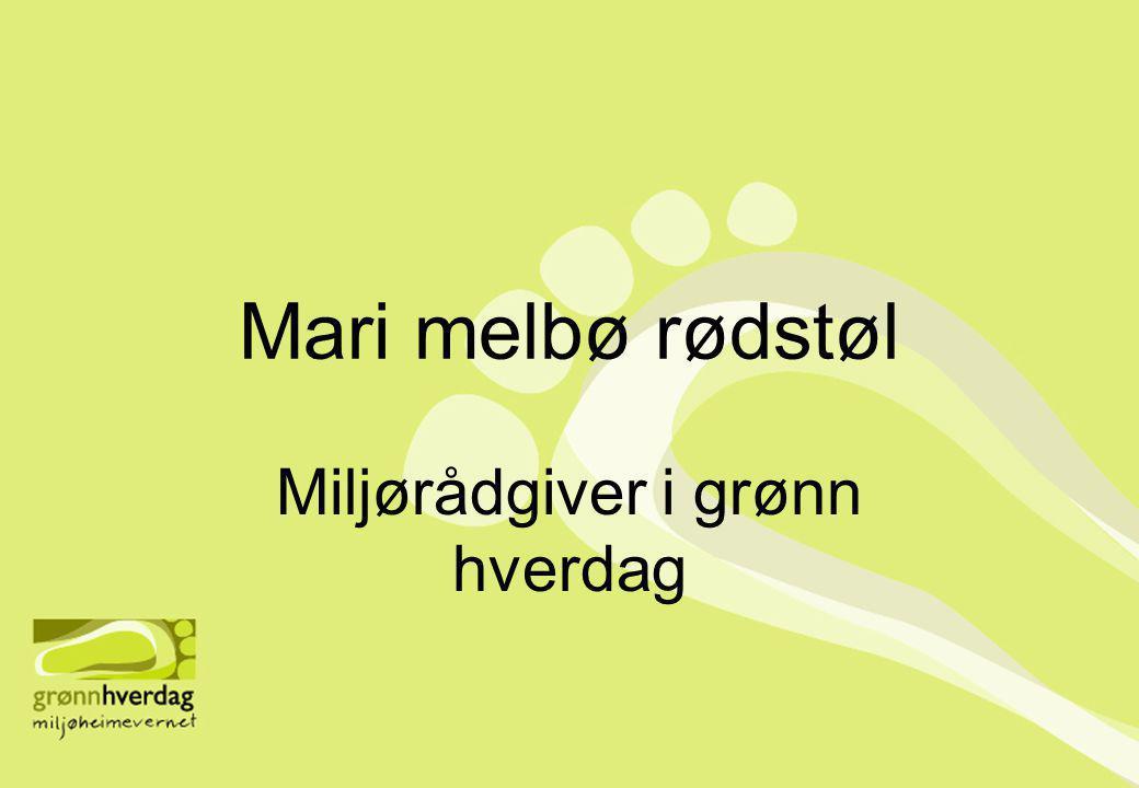 Mari melbø rødstøl Miljørådgiver i grønn hverdag