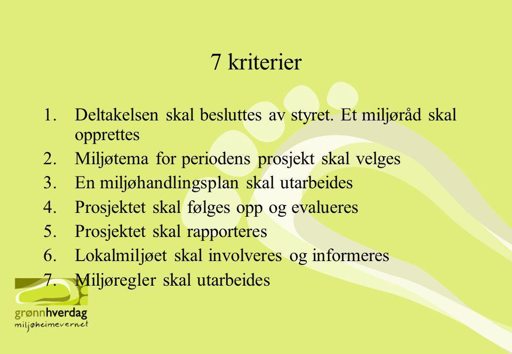 7 kriterier 1.Deltakelsen skal besluttes av styret.