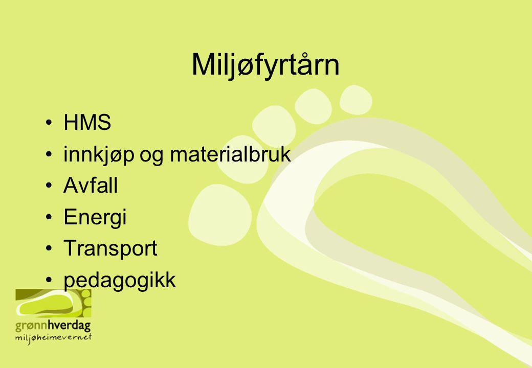 Miljøfyrtårn •HMS •innkjøp og materialbruk •Avfall •Energi •Transport •pedagogikk
