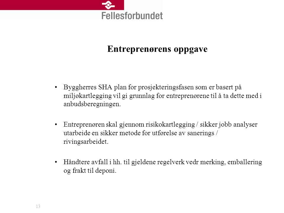 13 Entreprenørens oppgave •Byggherres SHA plan for prosjekteringsfasen som er basert på miljøkartlegging vil gi grunnlag for entreprenørene til å ta d