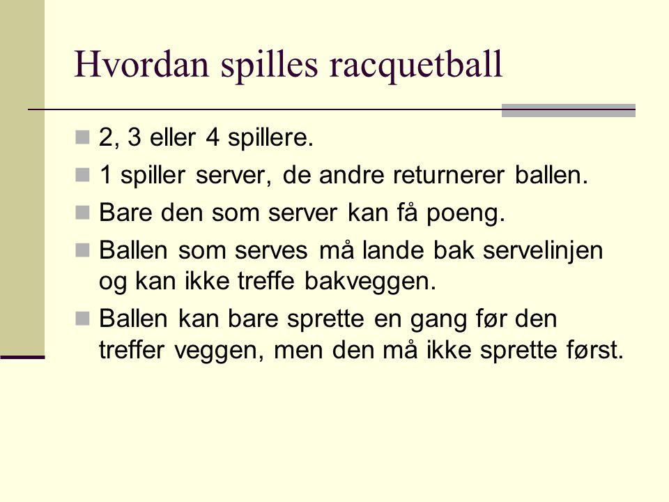 Hvordan spilles racquetball 22, 3 eller 4 spillere. 11 spiller server, de andre returnerer ballen. BBare den som server kan få poeng. BBallen