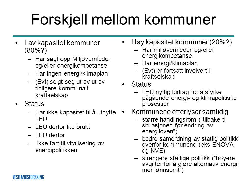 Forskjell mellom kommuner •Høy kapasitet kommuner (20%?) –Har miljøvernleder og/eller energikompetanse –Har energi/klimaplan –(Evt) er fortsatt involv