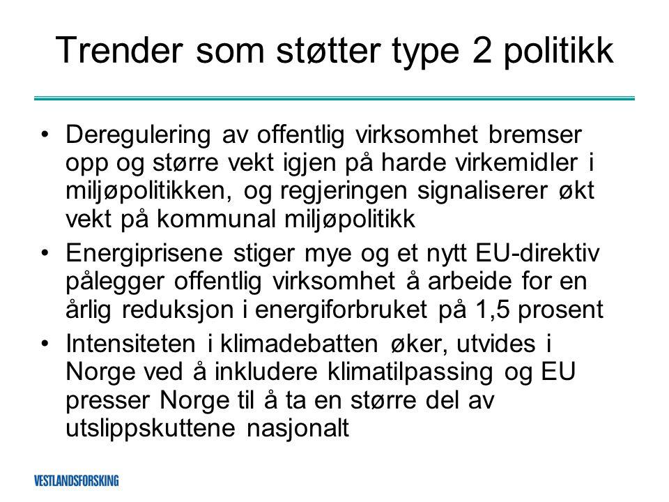Trender som støtter type 2 politikk •Deregulering av offentlig virksomhet bremser opp og større vekt igjen på harde virkemidler i miljøpolitikken, og regjeringen signaliserer økt vekt på kommunal miljøpolitikk •Energiprisene stiger mye og et nytt EU-direktiv pålegger offentlig virksomhet å arbeide for en årlig reduksjon i energiforbruket på 1,5 prosent •Intensiteten i klimadebatten øker, utvides i Norge ved å inkludere klimatilpassing og EU presser Norge til å ta en større del av utslippskuttene nasjonalt