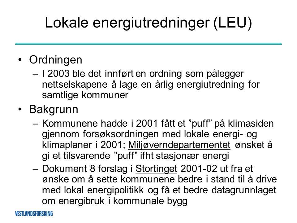 Lokale energiutredninger (LEU) •Ordningen –I 2003 ble det innført en ordning som pålegger nettselskapene å lage en årlig energiutredning for samtlige