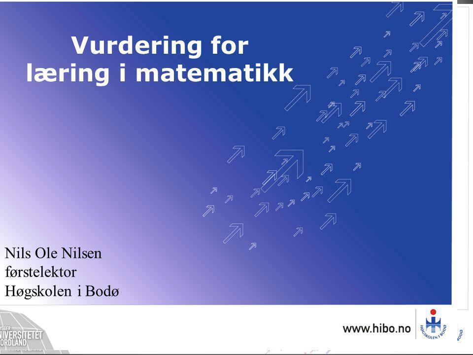 Nils Ole Nilsen førstelektor Høgskolen i Bodø Vurdering for læring i matematikk