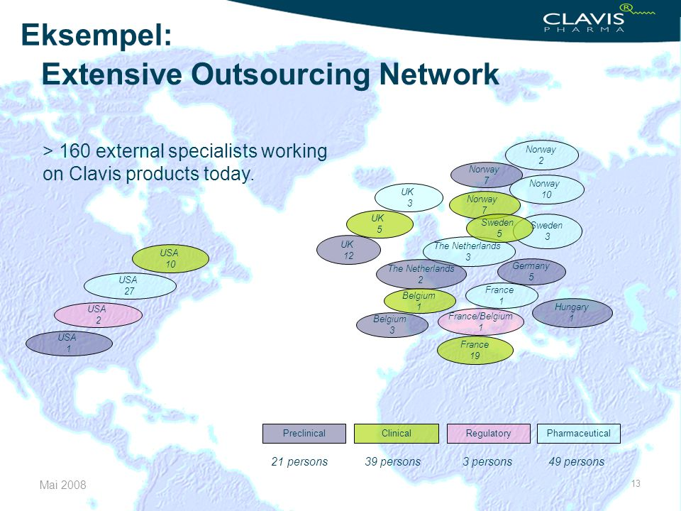 Mai 2008 13 Extensive Outsourcing Network > 160 external specialists working on Clavis products today. UK 3 The Netherlands 3 UK 5 Norway 7 Germany 5