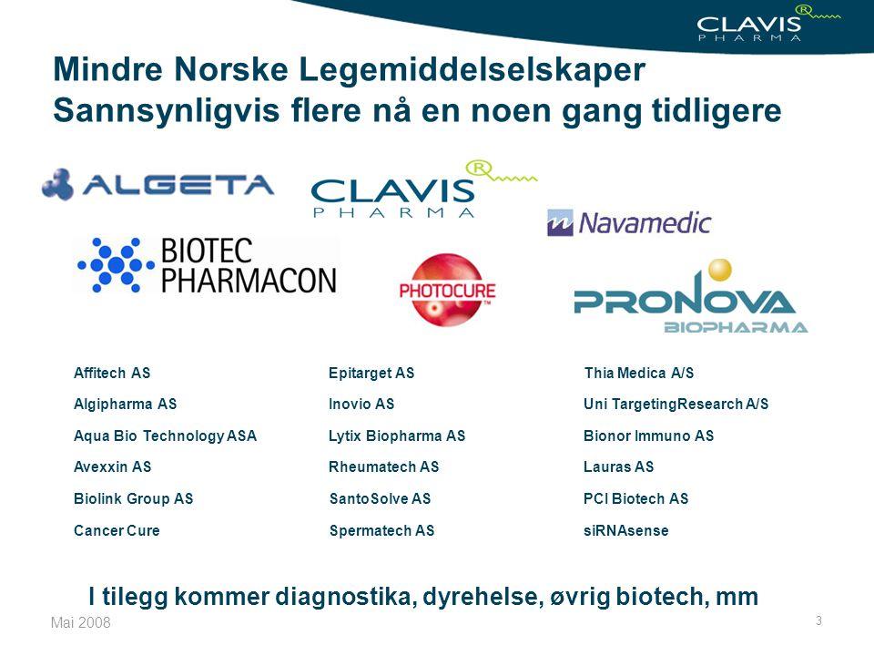 Mai 2008 3 Mindre Norske Legemiddelselskaper Sannsynligvis flere nå en noen gang tidligere Affitech AS Algipharma AS Aqua Bio Technology ASA Avexxin A