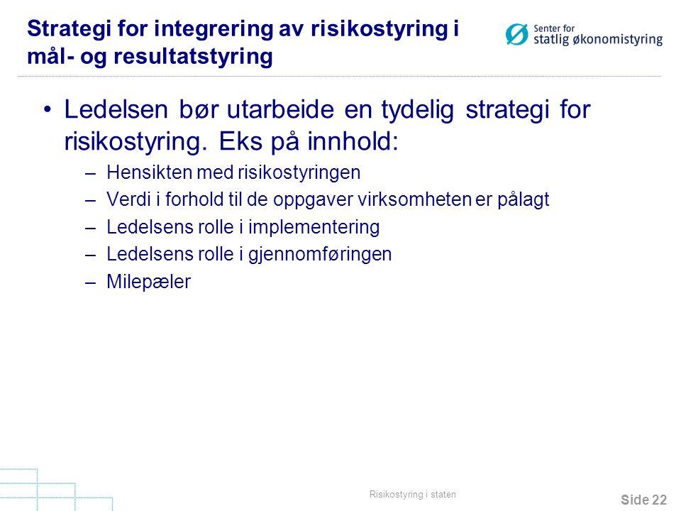 Side 22 Risikostyring i staten Strategi for integrering av risikostyring i mål- og resultatstyring •Ledelsen bør utarbeide en tydelig strategi for ris