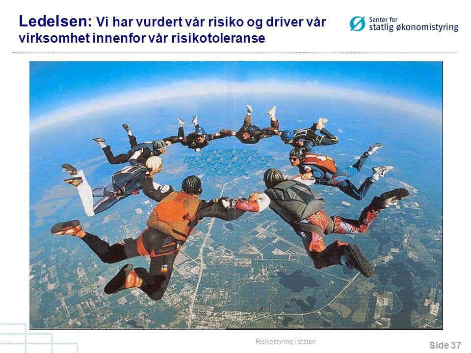 Side 37 Risikostyring i staten Ledelsen: Vi har vurdert vår risiko og driver vår virksomhet innenfor vår risikotoleranse