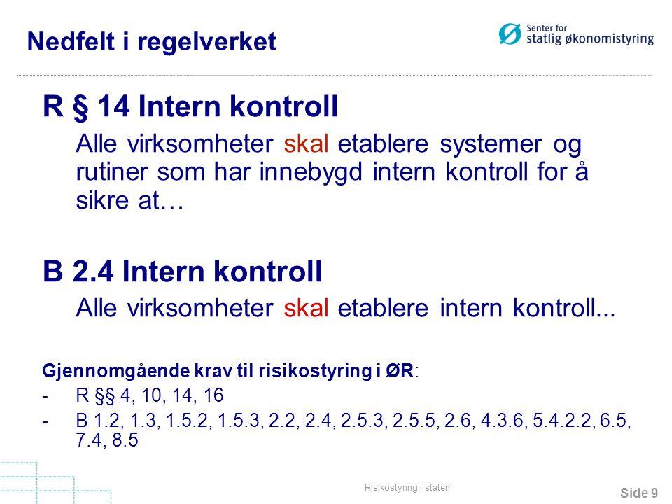 Side 9 Risikostyring i staten Nedfelt i regelverket R § 14 Intern kontroll Alle virksomheter skal etablere systemer og rutiner som har innebygd intern