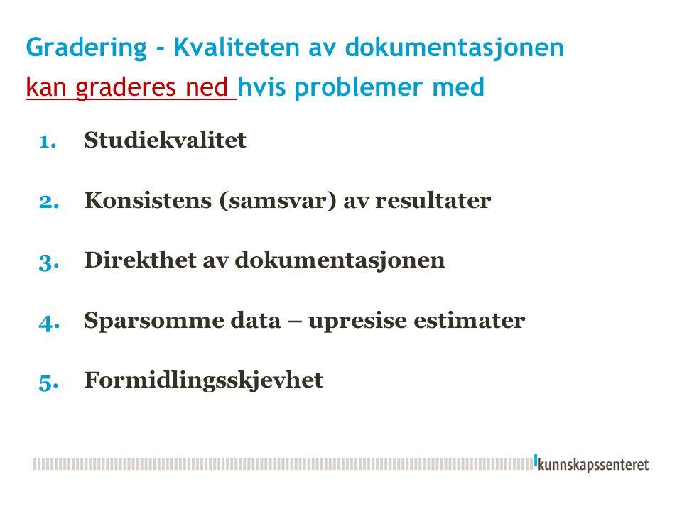 Gradering - Kvaliteten av dokumentasjonen kan graderes ned hvis problemer med 1.Studiekvalitet 2.Konsistens (samsvar) av resultater 3.Direkthet av dok