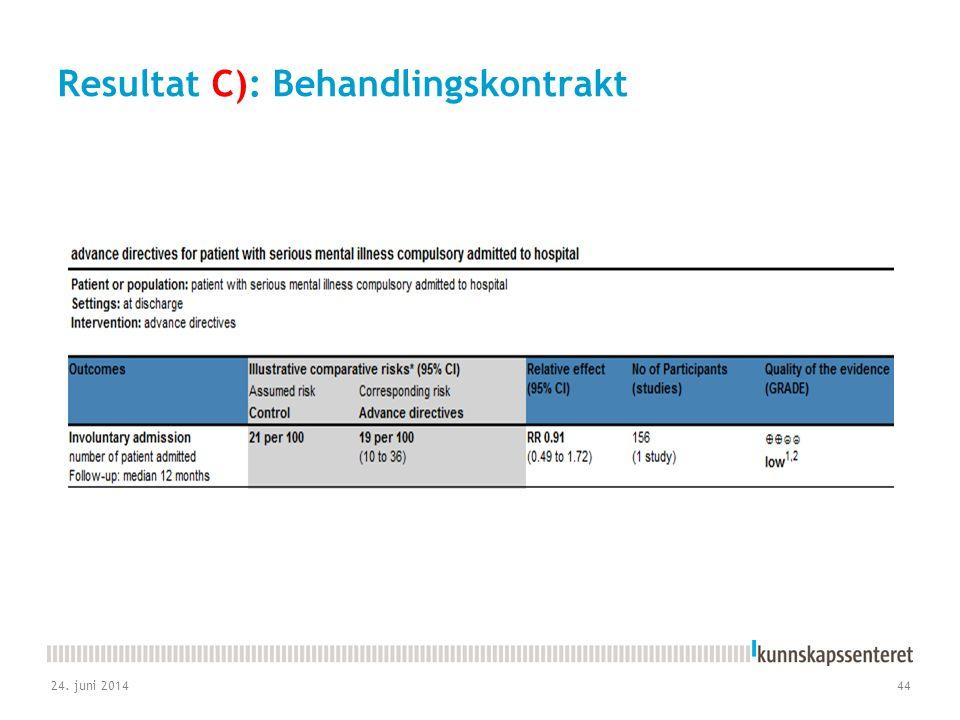 Resultat C): Behandlingskontrakt 24. juni 201444